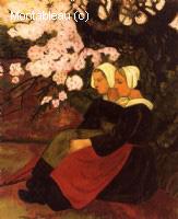 Deux Bretonnes sous un pommier en fleurs