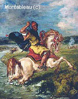 Cavalier Marocain Traversant un Gué