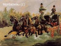 Alphonse de Toulouse-Lautrec Conduisant un Attelage à Quatre Cheveaux