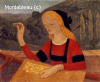 Brodeuse dans un paysage de Chateauneuf