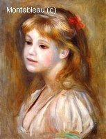 Petite Fille au un Noeud Rouge dans les Cheveux