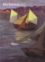 Bateaux au port d'Honfleur, effet du soir