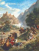 Arabes se Battant dans les Montagnes
